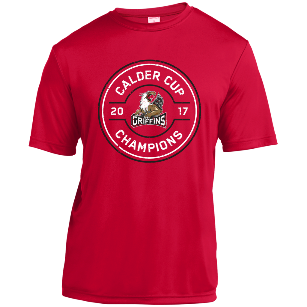 Grand Rapids Griffins 2017 Calder Cup Champions Adult Faceoff Short Sleeve Moisture-Wicking T-Shirt (red)