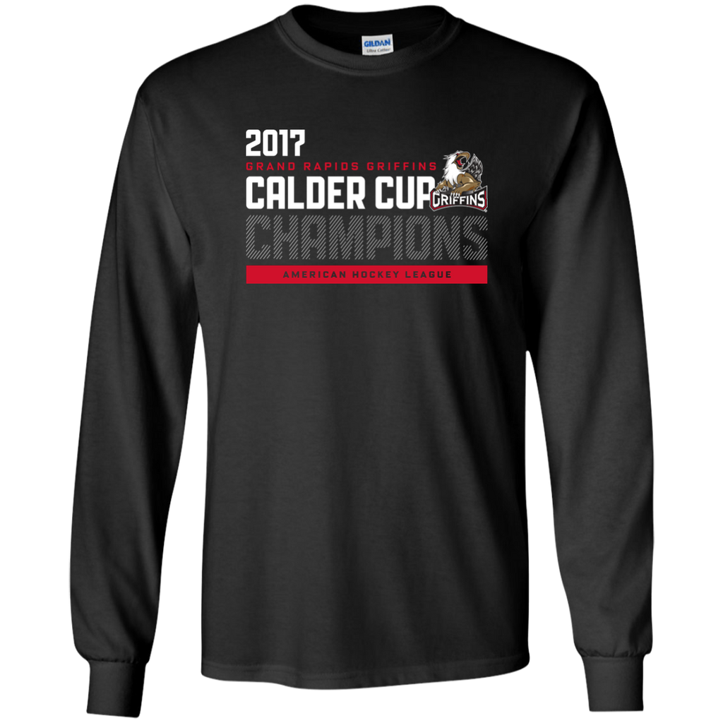 Grand Rapids Griffins 2017 Calder Cup Champions Atheltic Adult Long Sleeve T-Shirt (black)