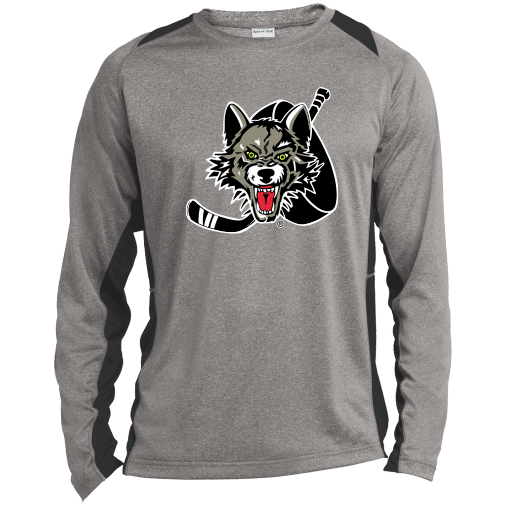 Chicago Wolves Adult Long Sleeve Heather Colorblock Poly T-Shirt