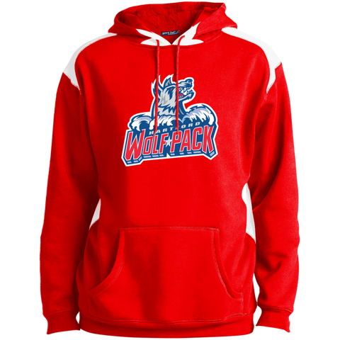 Hartford Wolf Pack Primary Logo Adult  Shoulder Colorblock Pullover Hoodie