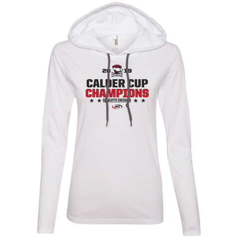 Charlotte Checkers 2019 Calder Cup Champions Ladies' Stacked Long Sleeve T-Shirt Hoodie