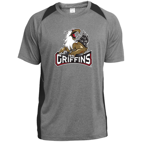 Grand Rapids Griffins Printed Heather Adult Colorblock Poly T-Shirt