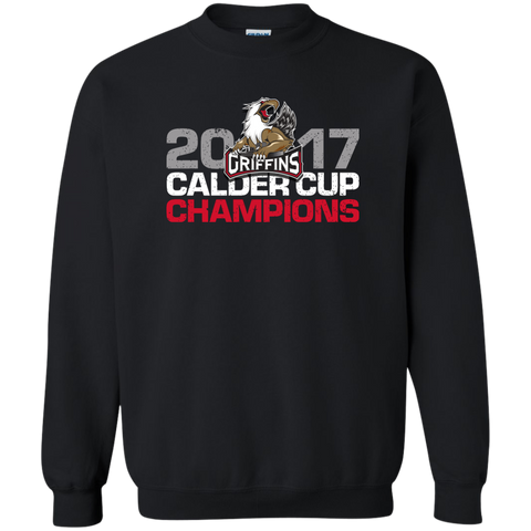 Grand Rapids Griffins 2017 Calder Cup Champions Distressed Adult Crewneck Pullover Sweatshirt (black)