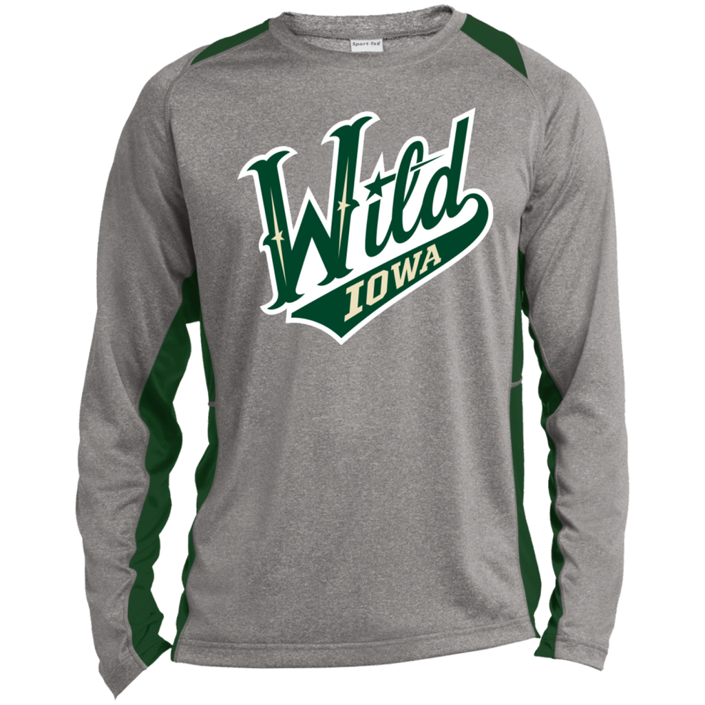Iowa Wild Adult Long Sleeve Heather Colorblock Poly T-Shirt (sidewalk sale)