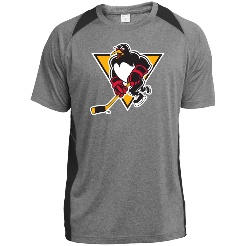 Wilkes-Barre/Scranton Penguins Primary Logo Adult Heather Colorblock Poly T-Shirt