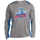 Hartford Wolf Pack Primary Logo Long Sleeve Heather Colorblock Poly T-Shirt