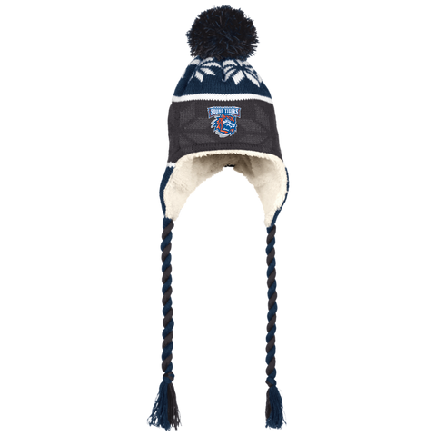 Bridgeport Sound Tigers Winter Hat with Ear Flaps and Braids