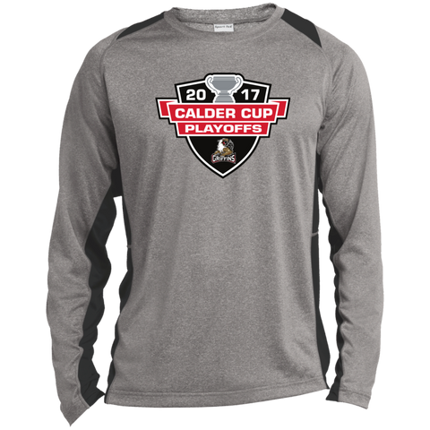 Grand Rapids Griffins Adult 2017 Calder Cup Playoffs Long Sleeve Heather Colorblock Poly T-Shirt