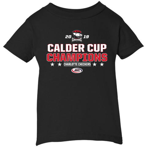 Charlotte Checkers 2019 Calder Cup Champions Infant Stacked Short Sleeve T-Shirt