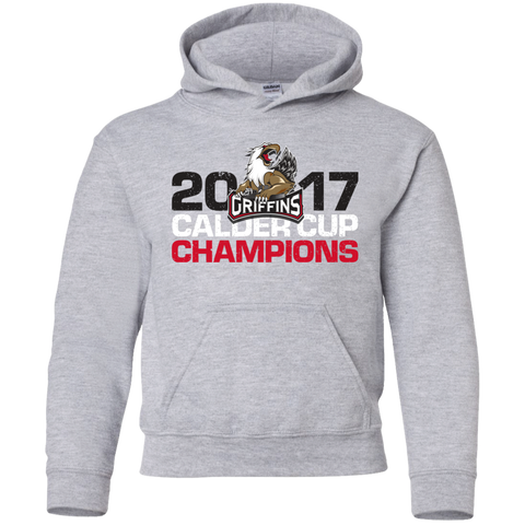 Grand Rapids Griffins 2017 Calder Cup Champions Youth Distressed Pullover Hoodie