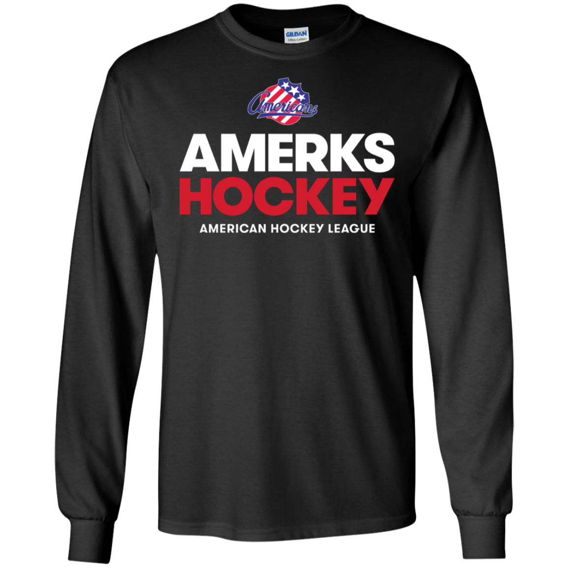 Rochester Americans Hockey Adult Long Sleeve Cotton T Shirt