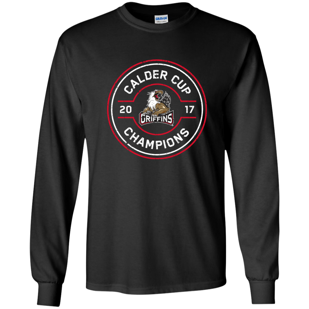 Grand Rapids Griffins 2017 Calder Cup Champions Faceoff Youth Long Sleeve T-Shirt (black)