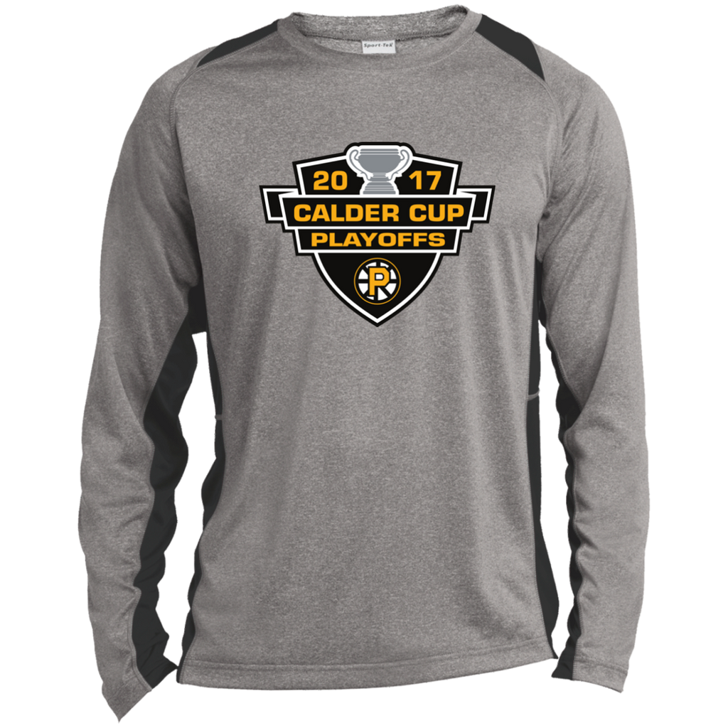 Providence Bruins Adult 2017 Calder Cup Playoffs Long Sleeve Heather Colorblock Poly T-Shirt