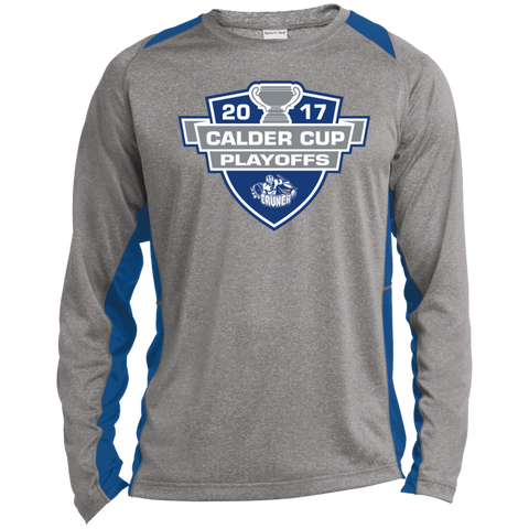 Syracuse Crunch Adult 2017 Calder Cup Playoffs Long Sleeve Heather Colorblock Poly T-Shirt