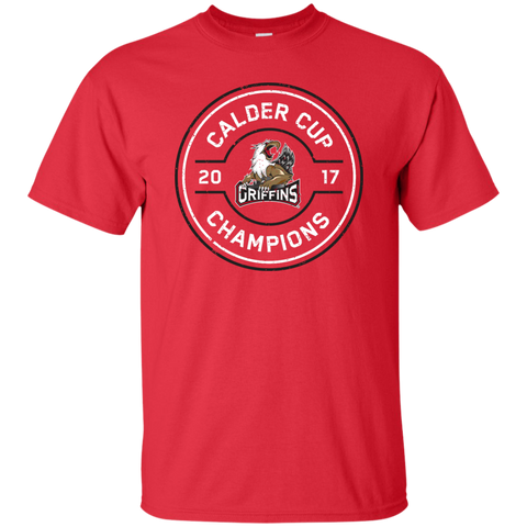 Grand Rapids Griffins 2017 Calder Cup Champions Faceoff Youth T-Shirt Red (sidewalk sale)