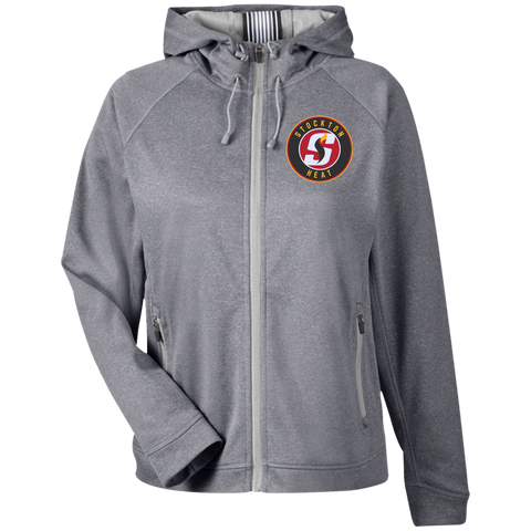 Stockton Heat Team 365 Ladies Heather Performance Hooded Jacket