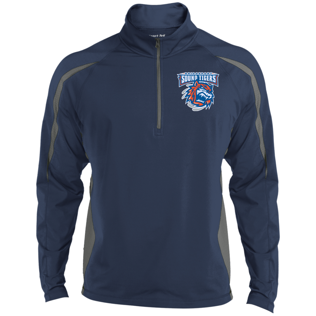 Bridgeport Sound Tigers Mens Sport Wicking Colorblock Half-Zip