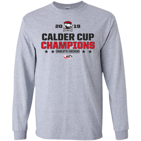 Charlotte Checkers 2019 Calder Cup Champions Adult Long Sleeve Stacked T-Shirt