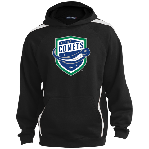 Utica Comets Primary Logo Youth Sleeve Stripe Hooded Pullover