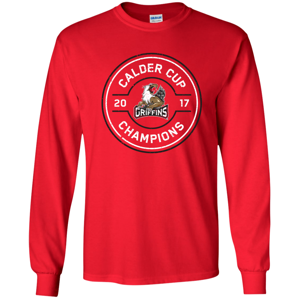 Grand Rapids Griffins 2017 Calder Cup Champions Adult Faceoff Long Sleeve T-Shirt (red)