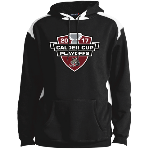 Chicago Wolves Adult 2017 Calder Cup Playoffs Shoulder Colorblock Pullover Hoodie