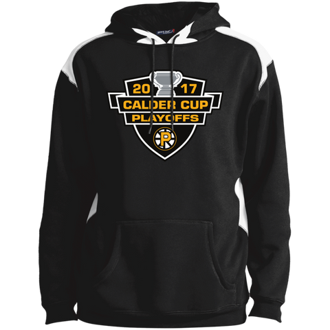 Providence Bruins Adult 2017 Calder Cup Playoffs Shoulder Colorblock Pullover Hoodie
