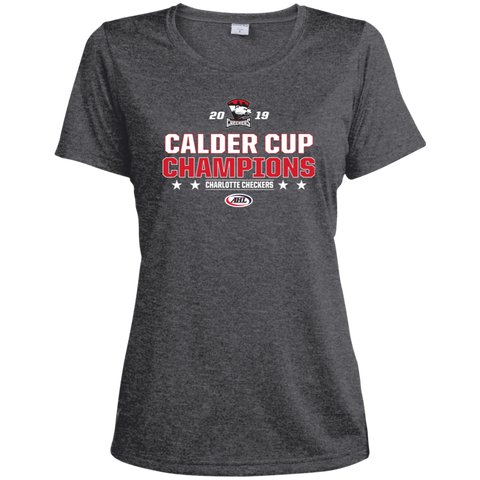 Charlotte Checkers 2019 Calder Cup Champions Ladies' Stacked Heather Dri-Fit Moisture-Wicking T-Shirt