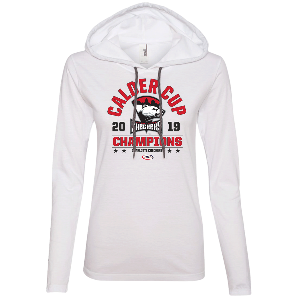 Charlotte Checkers 2019 Calder Cup Champions Ladies' Arch LS T-Shirt Hoodie