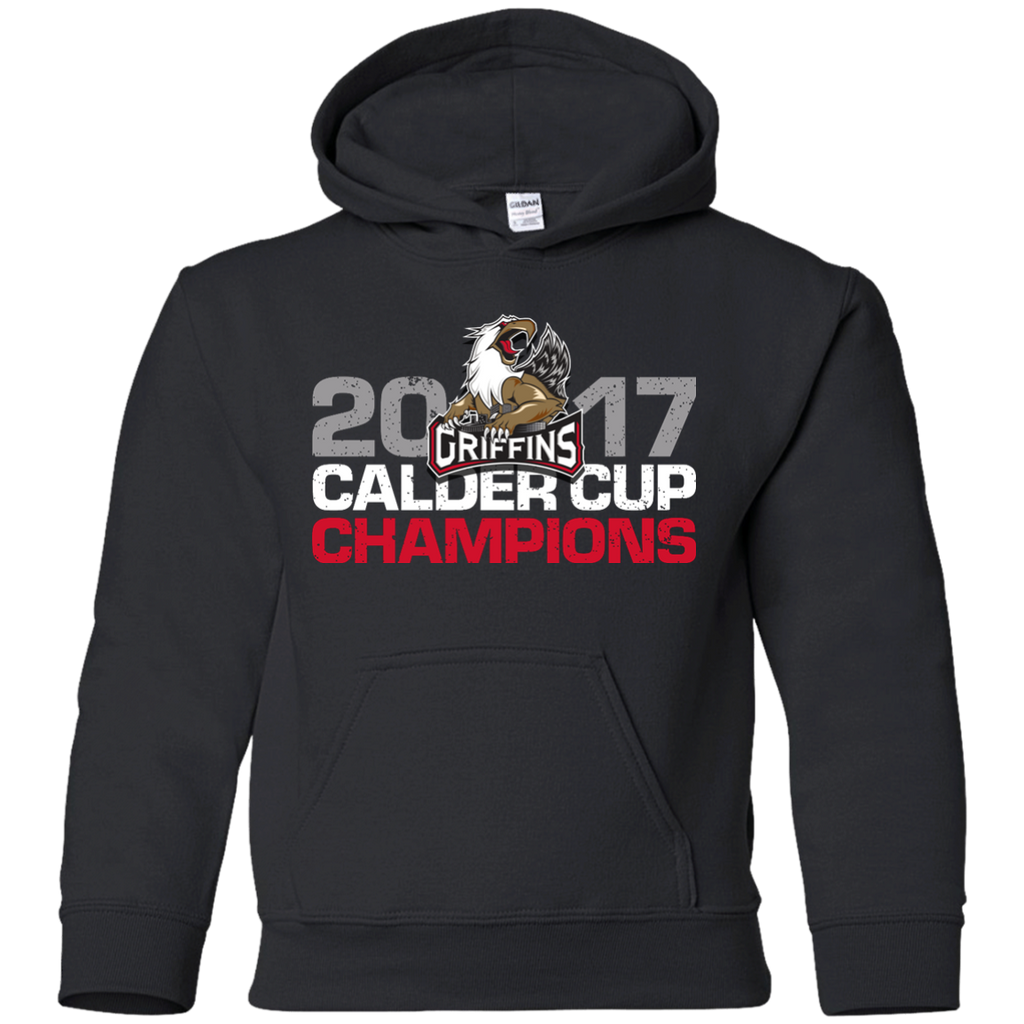 Grand Rapids Griffins 2017 Calder Cup Champions Distressed Youth Pullover Hoodie (Black)