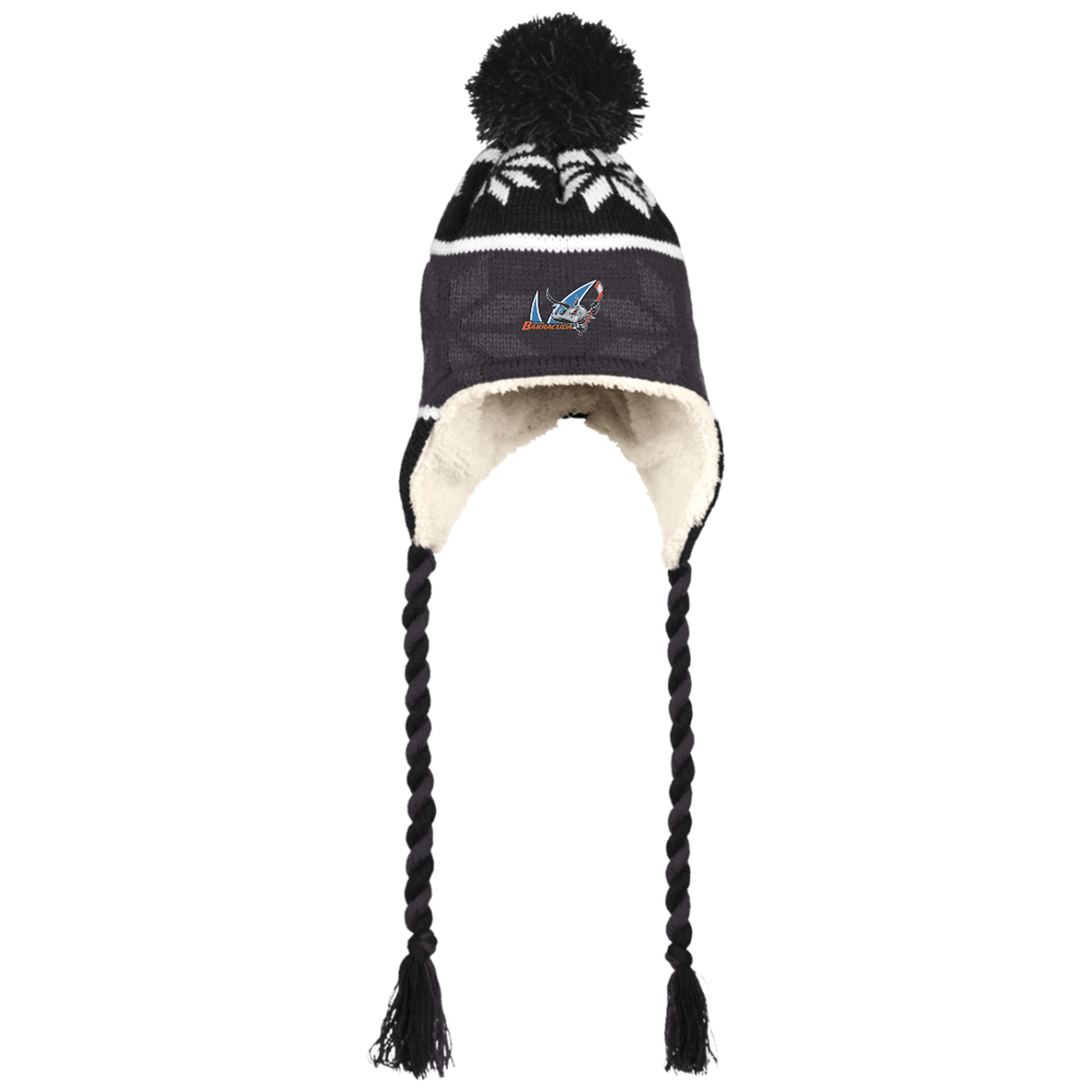 San Jose Barracuda Winter Hat with Ear Flaps and Braids