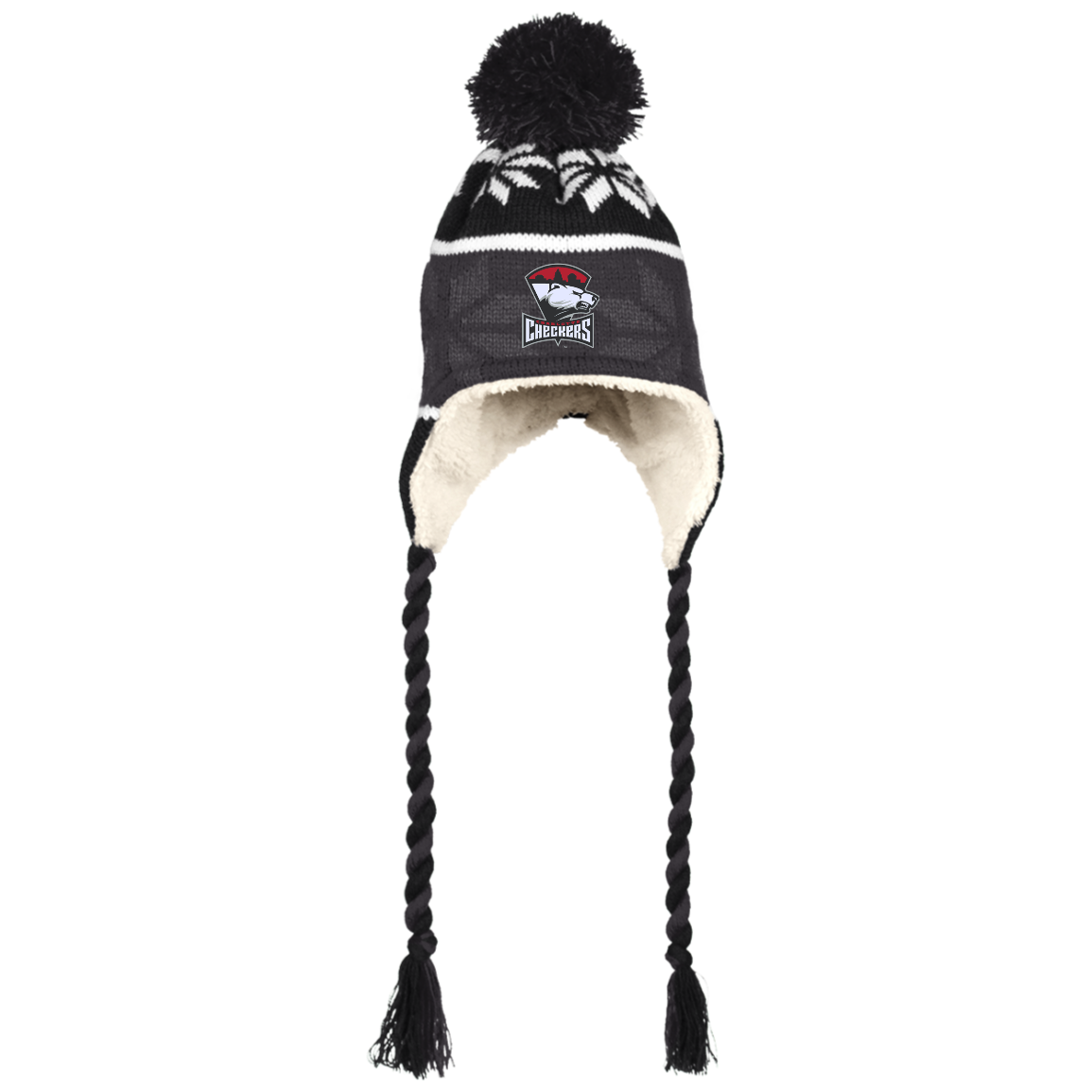 Charlotte Checkers Winter Hat with Ear Flaps and Braids – ahlstore.com c3e5cde8f9f