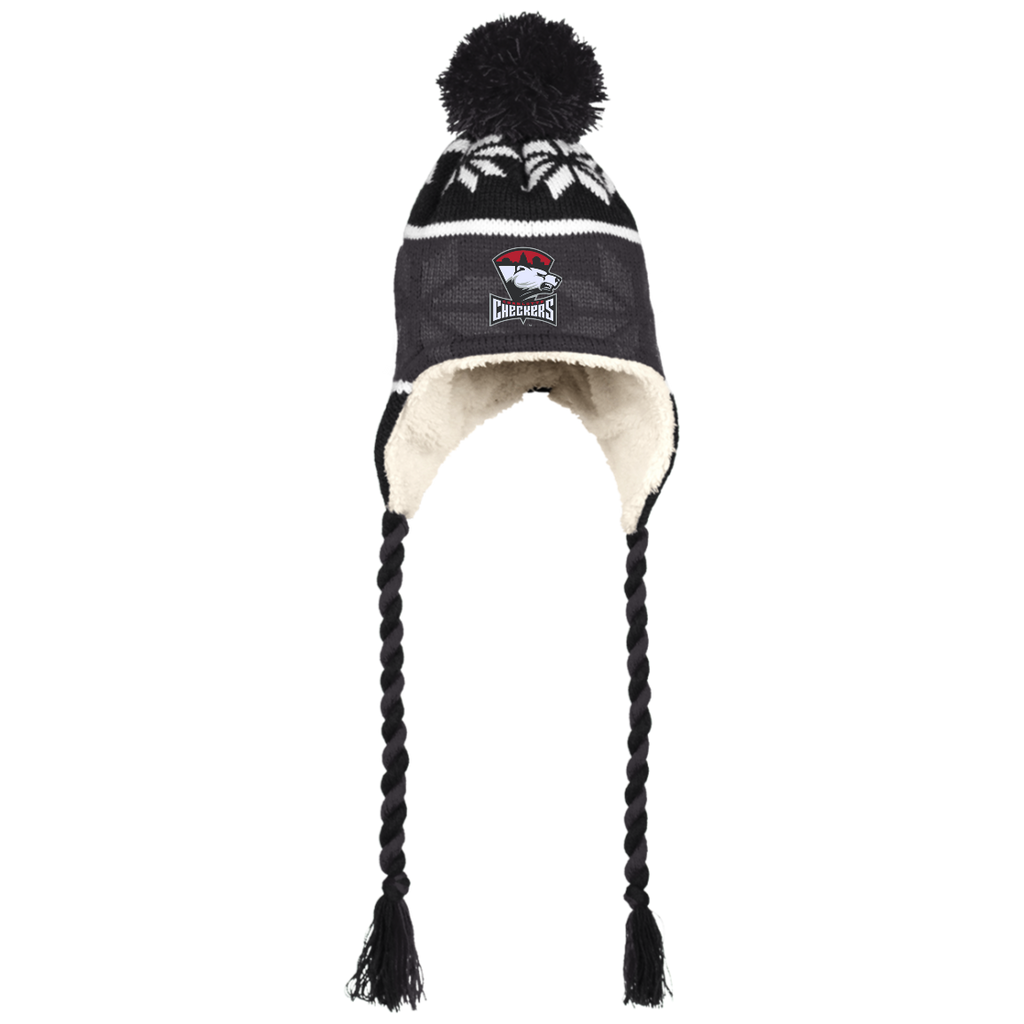 Charlotte Checkers Winter Hat with Ear Flaps and Braids