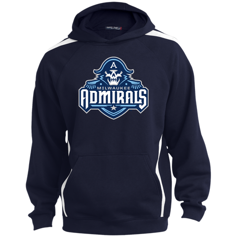 Milwaukee Admirals Primary Logo Youth Sleeve Stripe Pullover Hoodie