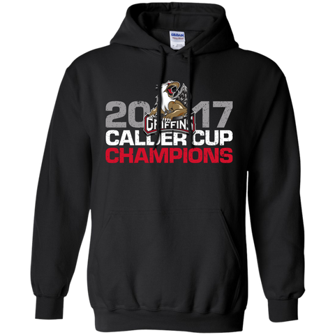 Grand Rapids Griffins 2017 Calder Cup Champions Distressed Adult Pullover Hoodie (black)