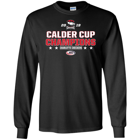 Charlotte Checkers 2019 Calder Cup Champions Adult Stacked Long Sleeve Cotton T-Shirt