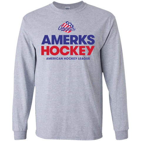 Rochester Americans Hockey Adult Long Sleeve Cotton T-Shirt