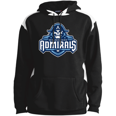 Milwaukee Admirals Primary Logo Unisex Printed Shoulder Colorblock Pullover Hoodie