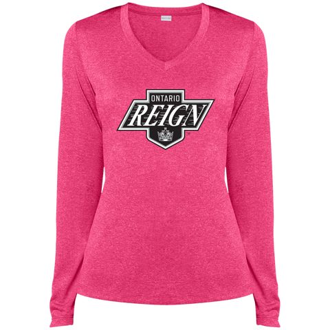 Ontario Reign Ladies Long Sleeve Heather Dri-Fit V-Neck T-Shirt