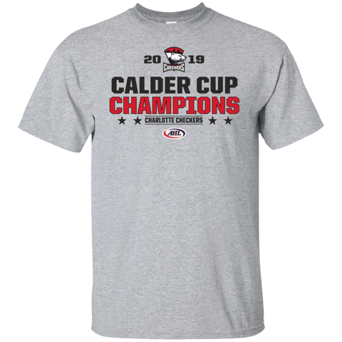 Charlotte Checkers 2019 Calder Cup Champions Adult Stacked Short Sleeve T-Shirt