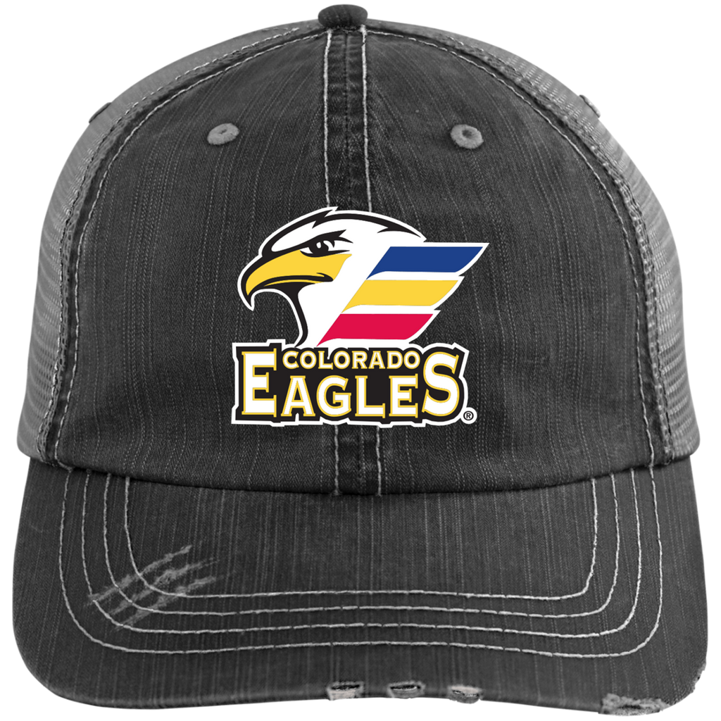 Colorado Eagles Primary Logo Distressed Unstructured Trucker Cap