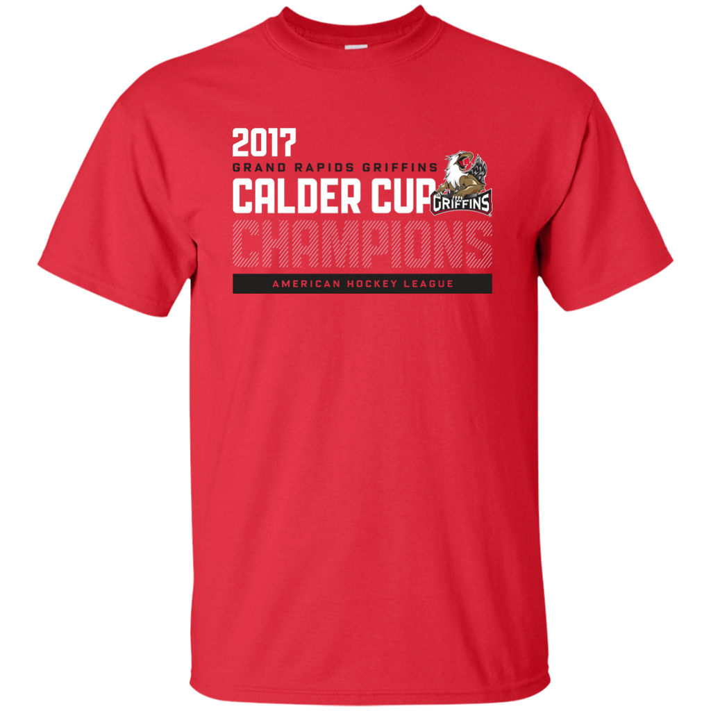 Grand Rapids Griffins 2017 Calder Cup Champions Adult Athletic Short Sleeve T-Shirt (red)