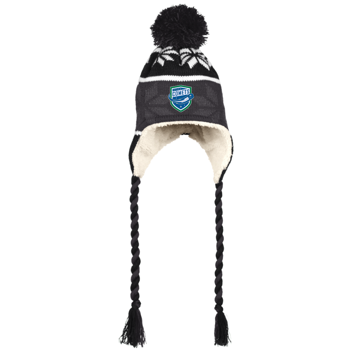 Utica Comets Winter Hat with Ear Flaps and Braids – ahlstore.com a98b8531d84