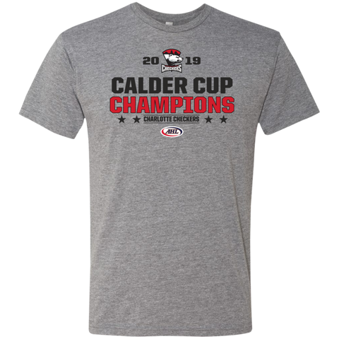 Charlotte Checkers 2019 Calder Cup Champions Next Level Men's Stacked Triblend T-Shirt