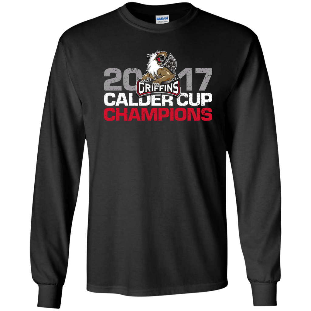 Grand Rapids Griffins 2017 Calder Cup Champions Distressed Adult Long Sleeve T-Shirt (black)