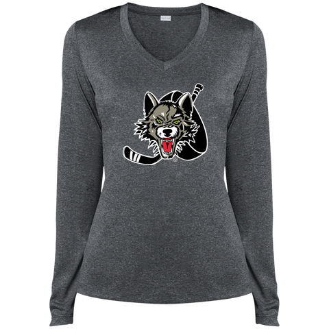 Chicago Wolves Ladies Long Sleeve Heather Dri-Fit V-Neck T-Shirt (sidewalk sale)