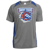 Bridgeport Sound Tigers Primary Logo Printed Heather Colorblock Poly T-Shirt