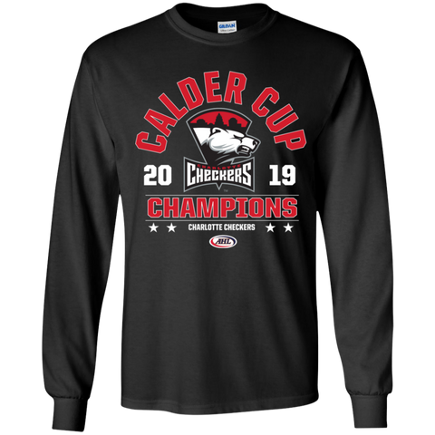 Charlotte Checkers 2019 Calder Cup Champions Youth Arch Long Sleeve T-Shirt