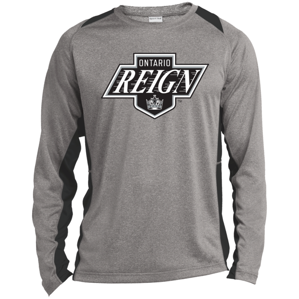 Ontario Reign Primary Logo Adult Long Sleeve Heather Colorblock Poly T-Shirt