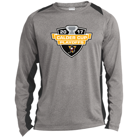 Wilkes-Barre/Scranton Penguins Adult 2017 Calder Cup Playoffs Long Sleeve Heather Colorblock Poly T-Shirt