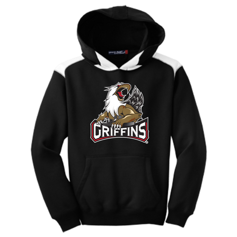 Grand Rapids Griffins Primary Logo Youth Colorblock Hooded Pulovers